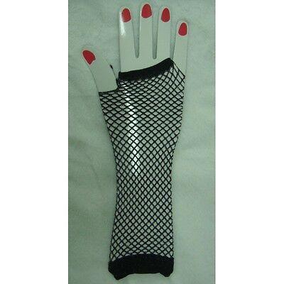 Halloween Costumes Fishnets (Silver Glitter Lurex Fingerless Fishnet Gloves for Parties Halloween )