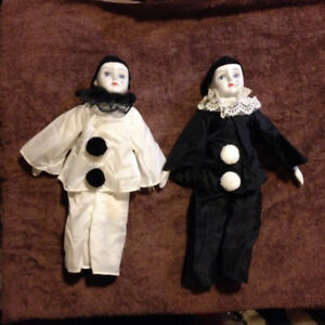 Pierrot Harlequin Clown dolls in black and white (2)