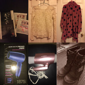 Hairdryer, boots, clothing etc