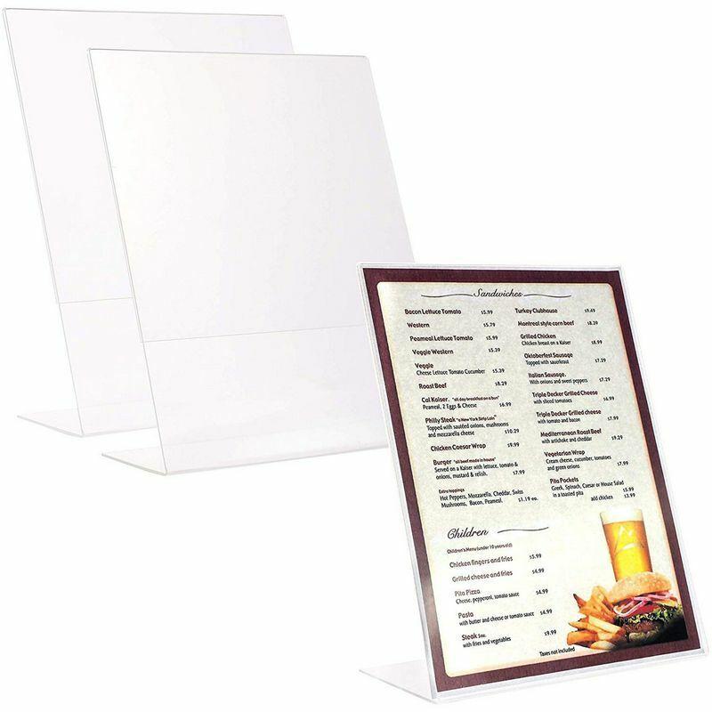 Juvale 3-Pack Clear Upright Menu Sign Holder Stands for Restaurants