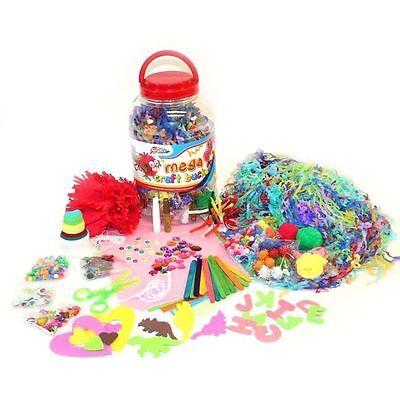 Kids Mega Craft Jar Giant Art Set Pom Poms Beads Paper Foam Letters Childrens