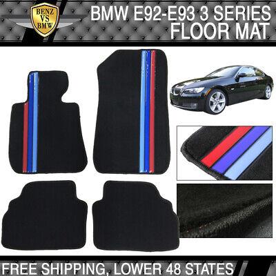Premium Quality Fits 07-13 BMW E92 3-Series OEM Floor Mat M Color Stripe
