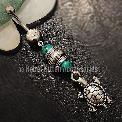 14g Dangle Turtle Green Bead Boho Beach Belly Button Navel Ring ()