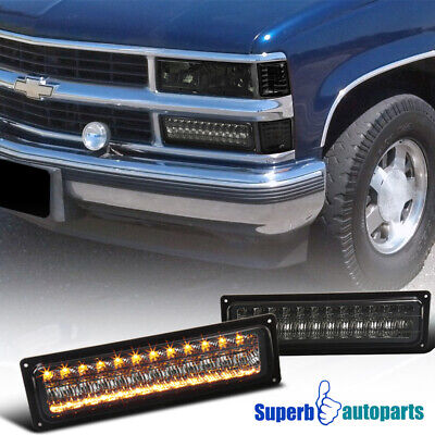 For 88-99 GMC C/K Chevy C10 LED Bumper Signal Lamps Parking Lights Smoke