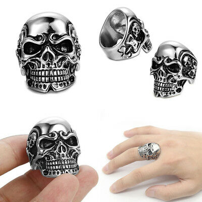 New Cool Boys (Cool Men's Stainless Steel Gothic Punk Skull Head Boy Biker Finger Ring)