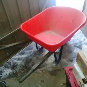 big and deep hard plastic wheel barrow