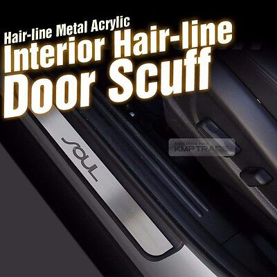 Hairline Metal Aluminum Door Sill Scuff Plate 4Pcs for KIA 2014-2016 2017 Soul