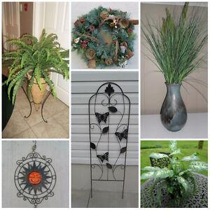 Metal Trellis, Sun Face, Artificial Plants & Wreath