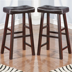 Set Of 2 Dark Brown Faux Leather Seat Cushion Solid Wood