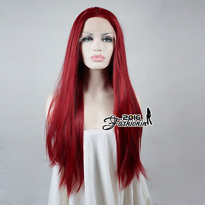 22 Inches Red Straight Long Daily Women Lace Front Hair Wig Heat Resistant+Cap - Long Red Wig