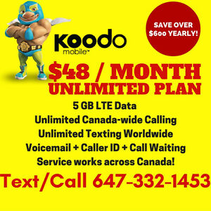 Koodo 5GB LTE DATA Plan • UNLIMITED • $48/Month NO CONTRACT!
