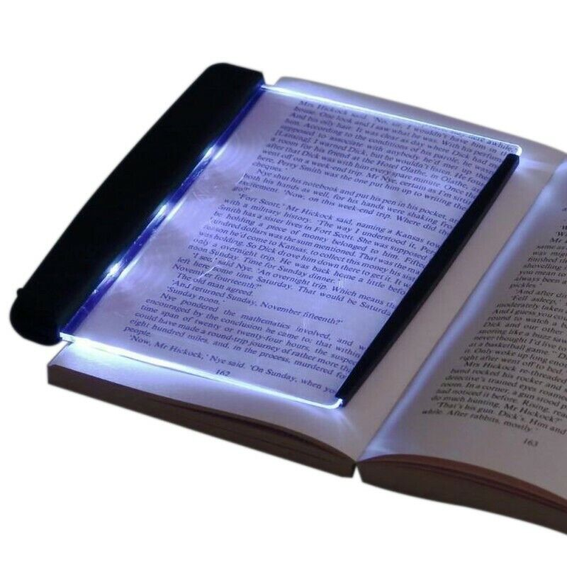 Portable LED Book Light Reading Night Flat Plate Portable Travel Panel Lamp US