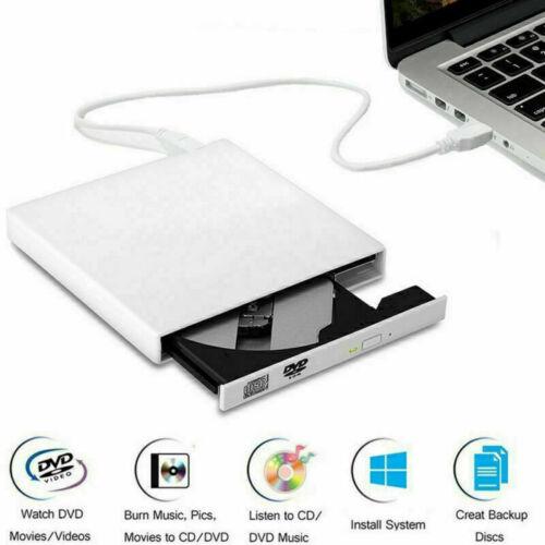 Slim USB DVD CD RW Drive External Burner Writer Rewriter for