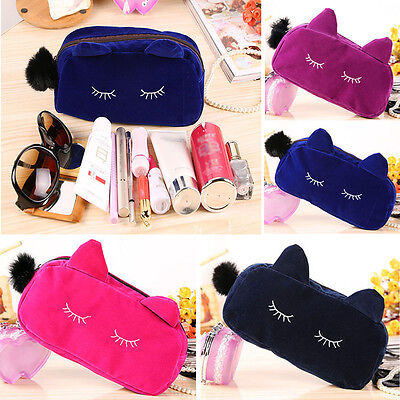 Portable Cartoon Cat Coin Storage Pretty Case Makeup Flannel Nimble Cosmetic Bag