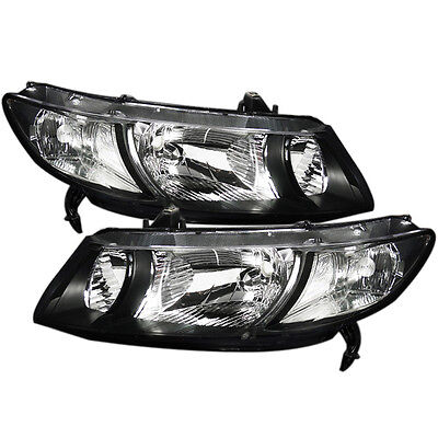 For 06-11 Honda Civic FA FG JDM Black Headlights Clear Reflector 2 DOOR Coupe