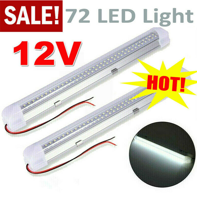 Car Parts - 12V Car Van Interior Lights Strip Bar 72 LED Bus Caravan ON/OFF Switch 12 VOLT
