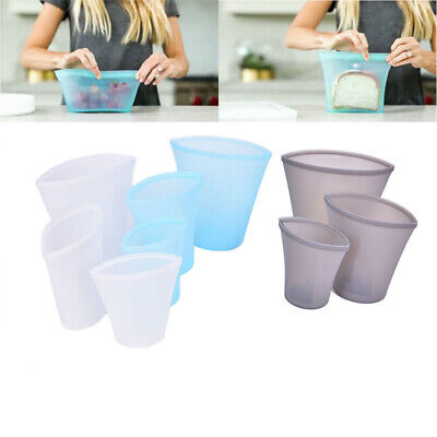 3x Reusable Silicone Food Storage Bags Zip Top Leak-proof Containers Stand Up UE Food Storage Container