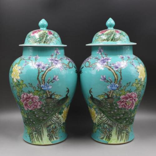 Chinese Old Marked Famille Rose Peacocks & Flowers Pattern Porcelain Temple Jars