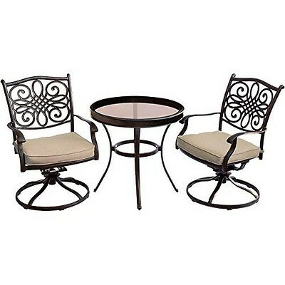 Hanover Traditions 3 Piece Swivel Bistro Set in Tan with 30