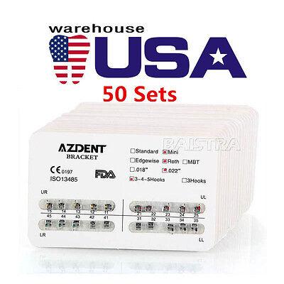 50x Dental Orthodontic Metal Bracket Mini Braces Hk 3 4 5 Roth Slot.022 Ag