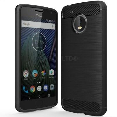 For Motorola Moto C Plus Carbon Fibre Gel Case Cover & Glass Screen Protector