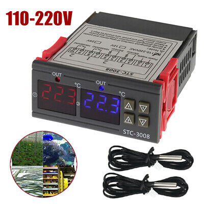 110-220v Stc-3008 Dual Digital Temperature Controller Thermostat Heating Cooling