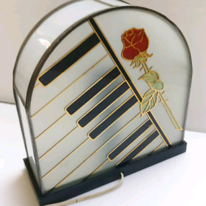 Vintage stained glass piano table lamp