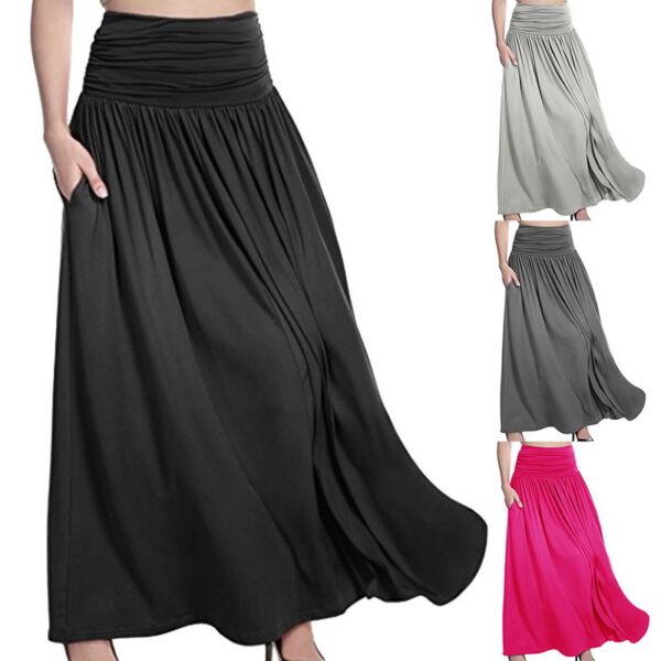 Ladies Maxi High Waist Flared Pleated Swing Long Dress Skirt Full Length Plain 1