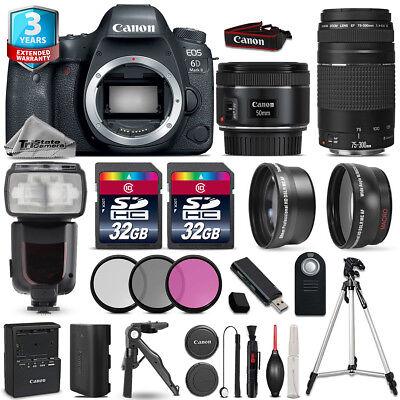 Canon EOS 6D Mark II Camera + 50mm 1.8 + 75-300mm + 64GB + Flash + 3yr Warranty