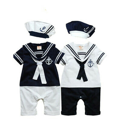 Newborn Baby Boy Sailor Romper +Hat Navy Suit Grow Outfit Summer Marine Outfit (Boys Sailor Suit)