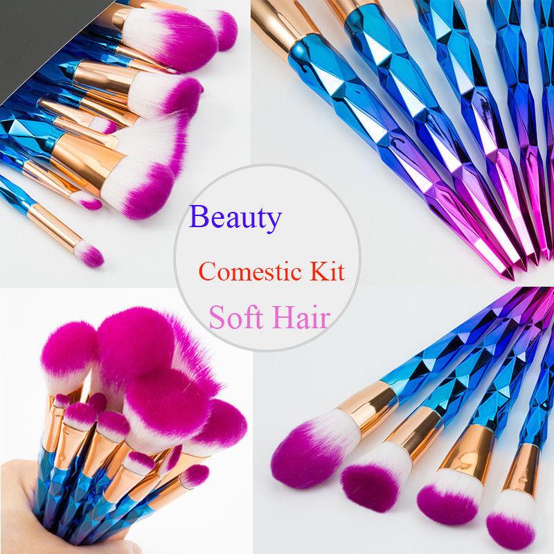 Купить Elailite 7/10/12 x Comestic Brushes - 12pcs Unicorn Mermaid Makeup Brushes Foundation Set Cosmetic Blush Face Powder