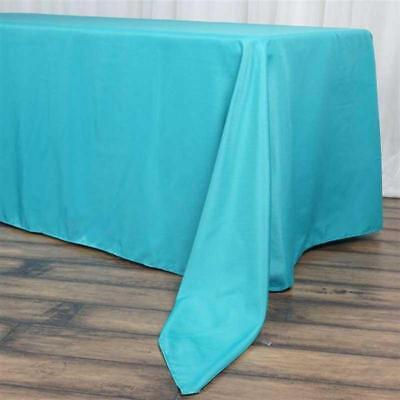 """10 Pk Turquoise 72x120""""  Polyester Rectangle Seamless Tablec"""