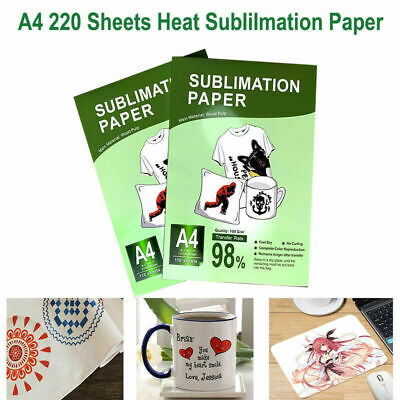 Heat Sublimation Transfer Paper 220 Sheets Diy A4 Iron On Mug Polyester T-shirt