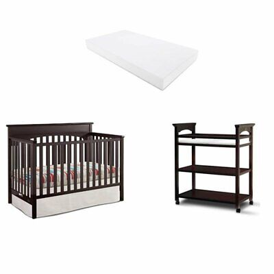 3 Piece Nursery Furniture Set with Crib and Changer in Espresso