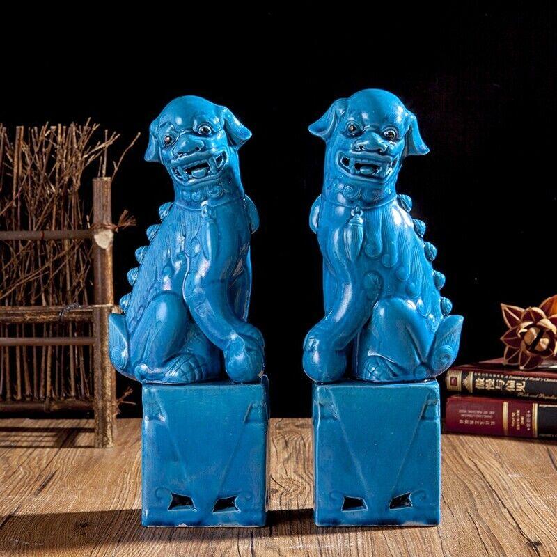 Chinese Jingdezhen Ceramics Porcelain Blue Foo Fu Dog Guardion Lion Statue Pair