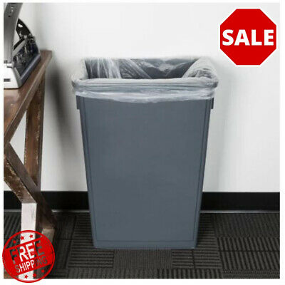 23 Gallon Heavy-Duty Gray Plastic Slim Commercial Restaurant Kitchen Trash Can Gallon Commercial Trash Can