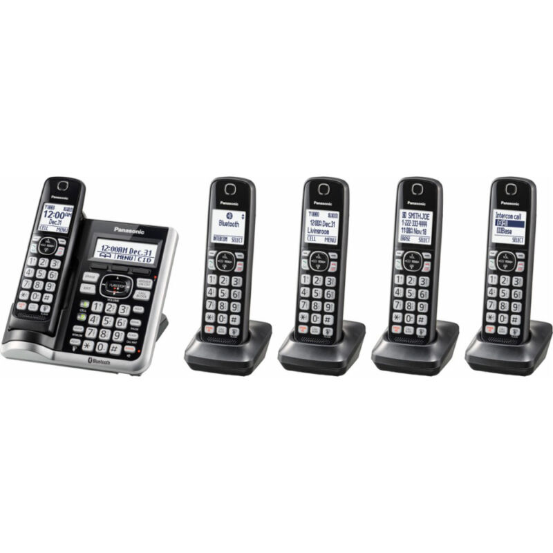 Panasonic DECT 6.0 Bluetooth Cordless Phone with Answering Machine & 5-Handset