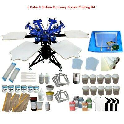 6 Color 6 Station Economy Silk Screen Printing Machine Press Printer New