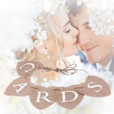 Vintage DIY Wedding CARDS Bunting Banner Rustic Decor Burlap Hearts Hanging Sign - Rustic Diy Decor