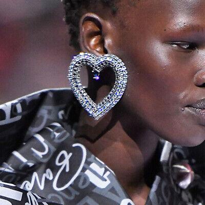 Gft Earrings Exaggerated Large Heart-shaped Rhinestone Inlaid Shiny Earrings ()