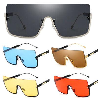 Sonnenbrille Flat Top Shield Große Herren Fahren Halbrahmen Metal Brillen UV400