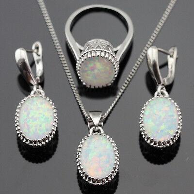 SUPER Australia WHITE Opal White Topaz 925 Sterling Silver SET Size 6 7 8 9 10
