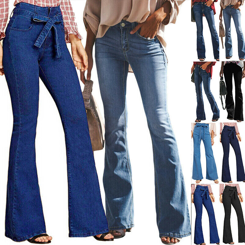 Women Flare Denim Jeans Bell Bottom Wide Leg Pants High Wais