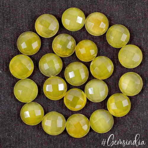 175+ Ct/22 Pcs Natural Yellow Onyx Agate 14mm Round Checker Cut Gems For Jewelry