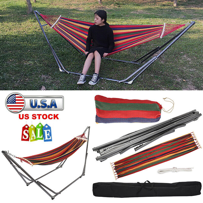 Portable Hammock with Stand for 2 person 450lb w/Carrying ca