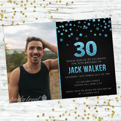 30TH BIRTHDAY INVITATIONS AGE THIRTY PERSONALISED PARTY SUPPLIES INVITE BLUE