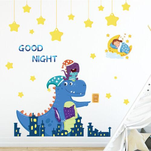 Good Night Baby Dinosaur Star Wall Sticker Baby Nursery Room Art Decal DIY Gift