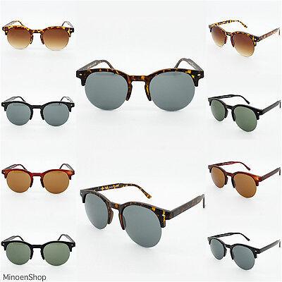 80's Browline Indie Dapper Vintage Round Half Frame Fashion Sunglasses