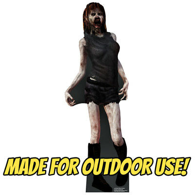 ZOMBIE WOMAN Plastic OUTDOOR YARD DECOR Standee Standup Hallowee Prop FREE SHIP
