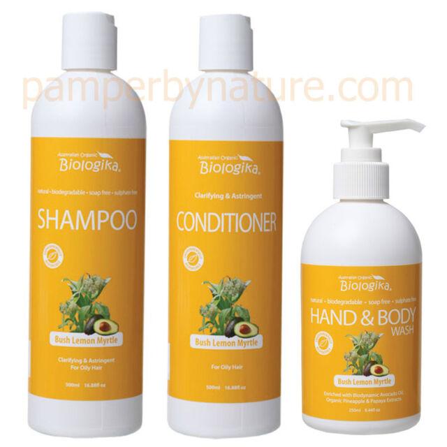Australian Organic Biologika Lemon Myrtle Shampoo, Conditioner & Hand/Body Wash